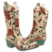nomad rain boots Yippy skulls and roses