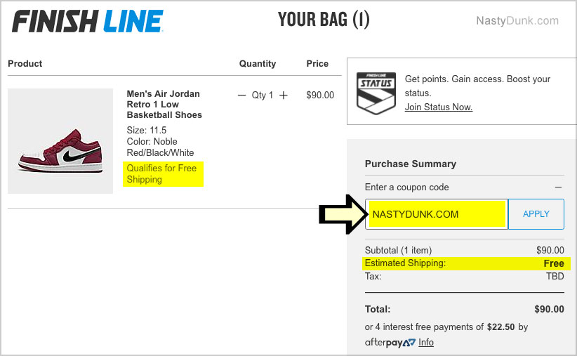enter finish line coupon code
