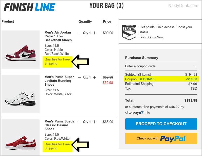 free shipping finish line