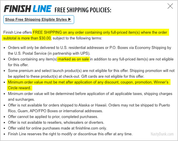 finish line free ship policy