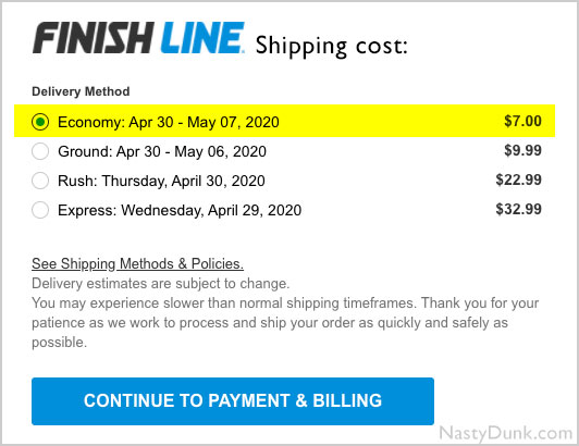 finish line shipping cost
